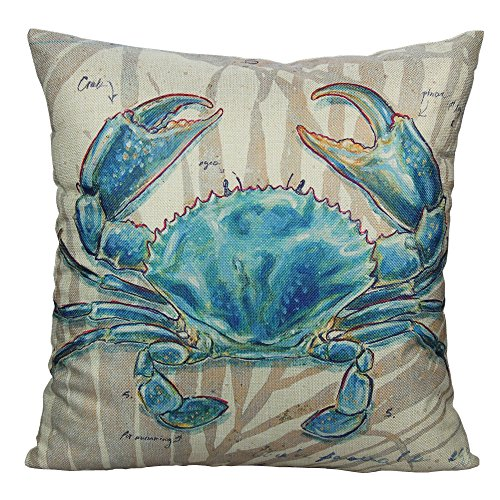 Beach Decor Throw Pillow - All Smiles Outdoor Beach Decorative Throw Pillow Covers Case Nautical Sea Ocean Theme Coastal Decor Mediterranean Cushion Cotton Linen 18x18 Crab Decorations Marine Animals
