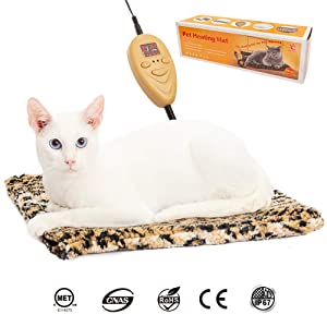 PAWCHIE Upgraded Cat Electric Heating Pad, Pet Heating Pad, Safe Indoor Warming Mat with Chew Resistant Steel Cord, Soft Removable Fleece Cover