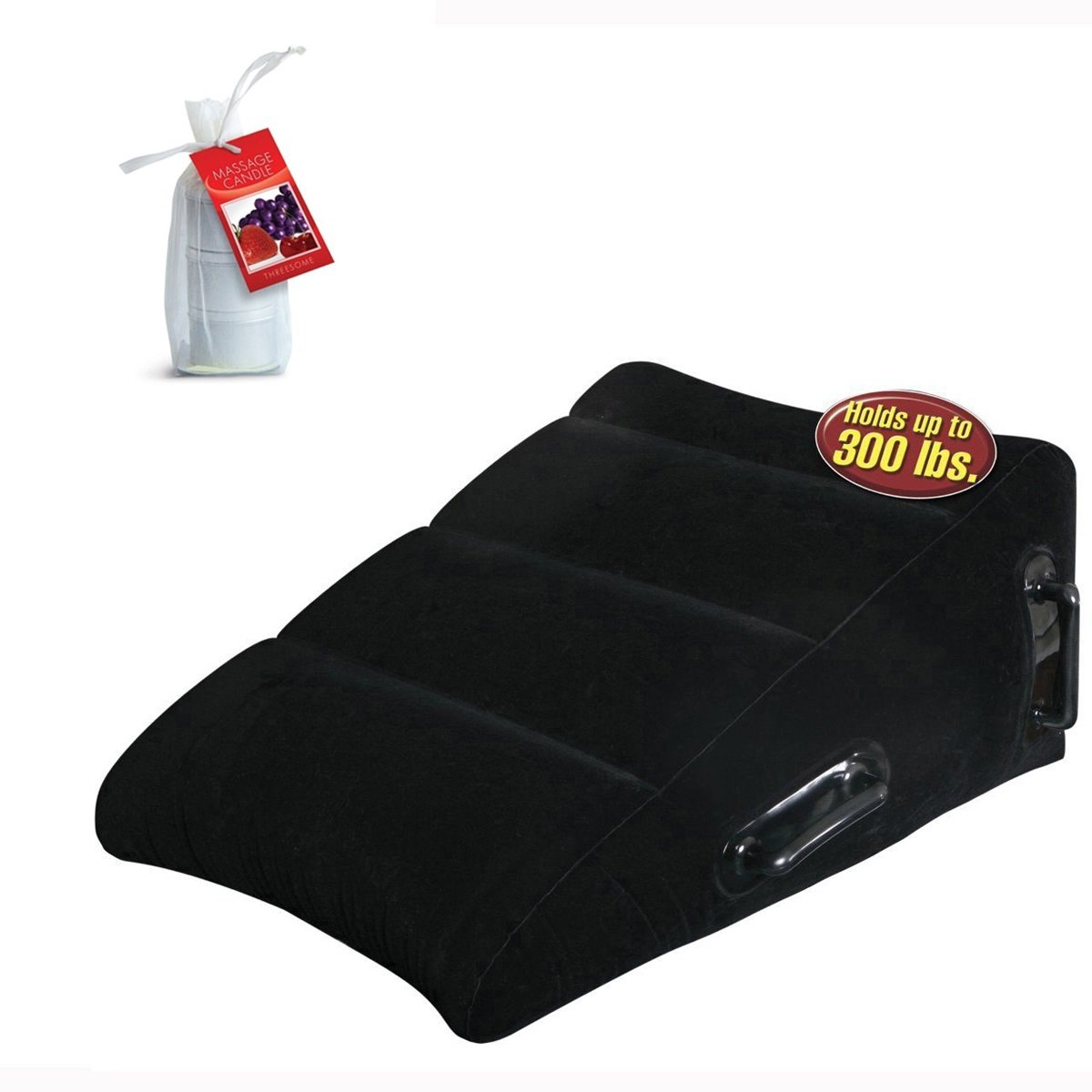 Ultra Inflatable Better Sex Cushion Wedge Pillow AND 3 piece set Massage Oil Candle Cherry Grape Strawberry Bundle