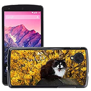Just Phone Cases Etui Housse Coque de Protection Cover Rigide pour // M00129226 Gato Animal lindo Flor mascotas // LG Nexus 5