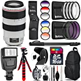 Canon EF 70-300mm IS USM Lens + 6PC Graduated Filter Set + Flash + UV-CPL-FLD Filters + Macro Filter Kit + 72 Monopod + Lens Hood + 16GB Class 10 + Backpack + Spider Tripod - International Version