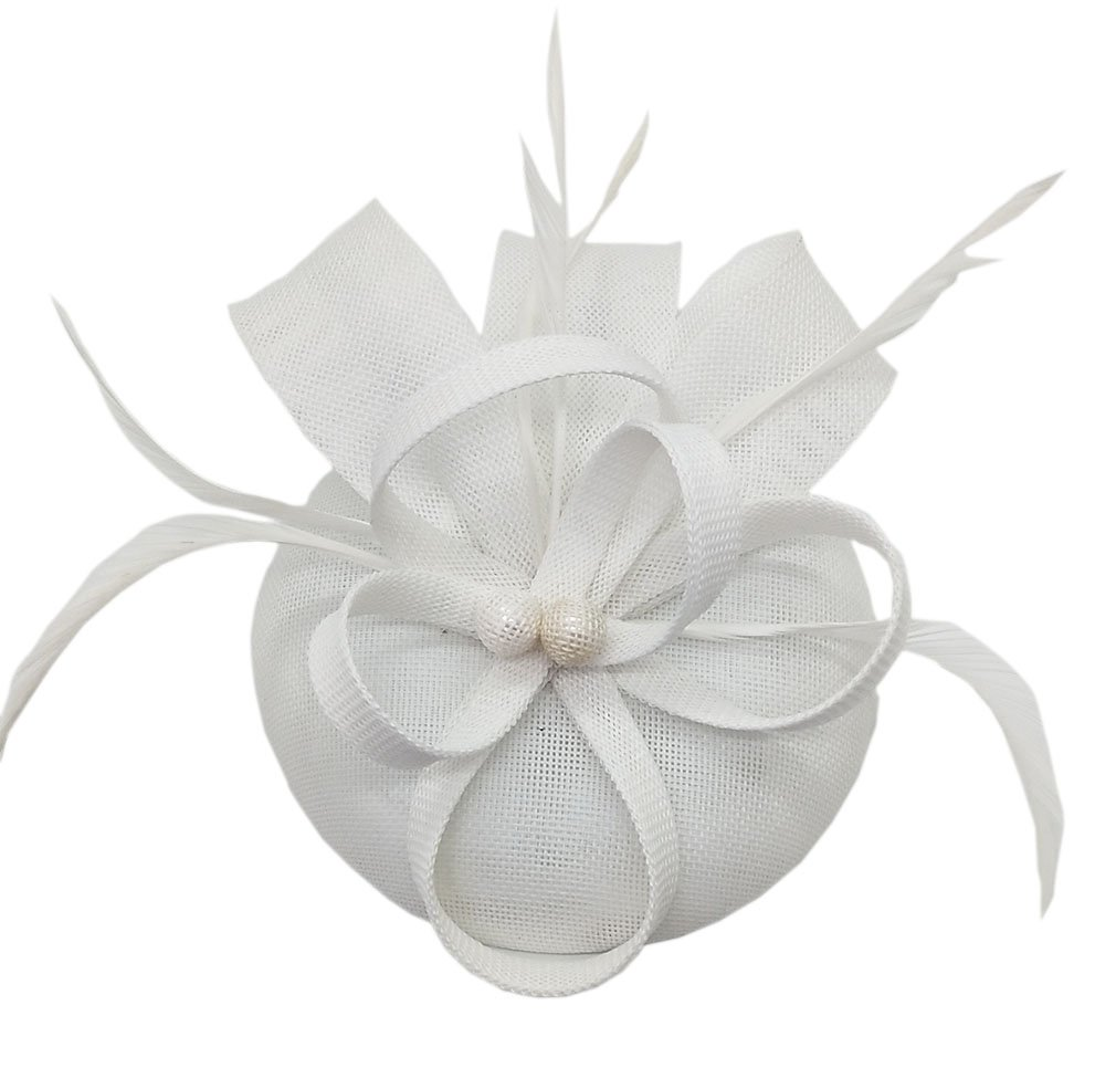 Biruil Women's Fascinator Hat Imitation Sinamay Feather Tea Party Pillbox Flower Derby (White) by Biruil