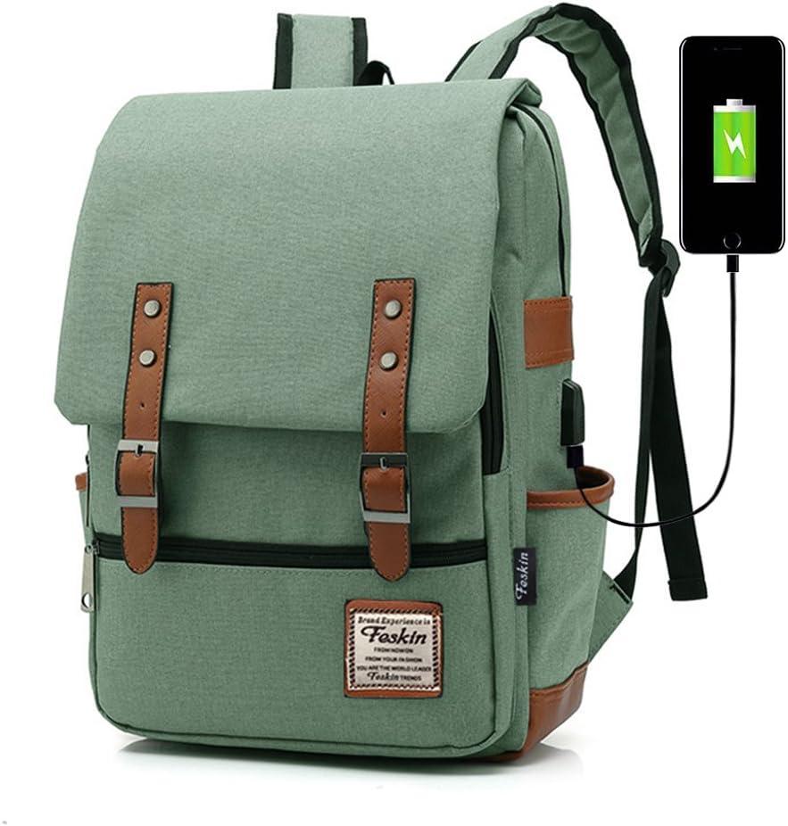 Professional Laptop Backpack with USB Charging Port, Feskin Fashion Travel Bag Vintage Business Work Computer Rucksack College School Casual Daypack for Women Men Girls - Green