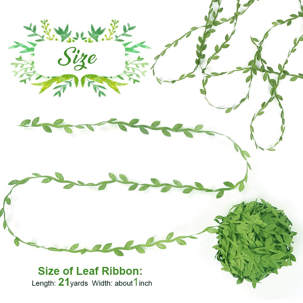 21 Yards FANDAMEI Olive Green Leaves Leaf Ribbon Trim Rope for Garland DIY Crafts and Home Wall Garden Party Wedding Decorations