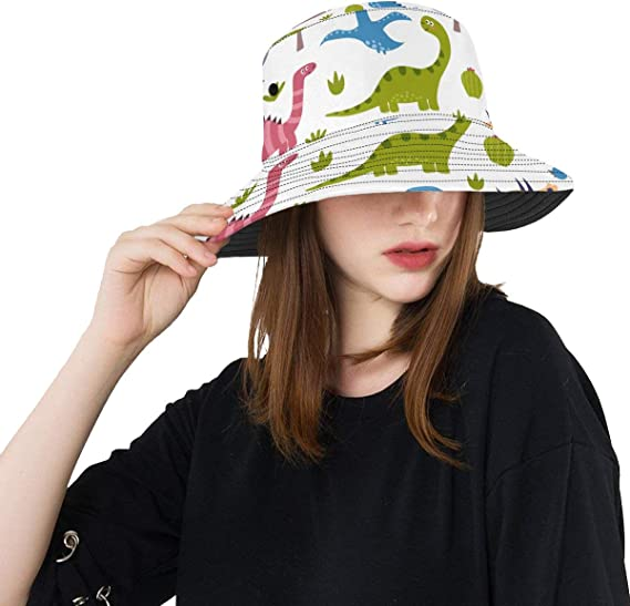 Bucket Hat Funny Dinosaurs Outdoor Travel Sun Protection Hat Sun Hat Cap Wide Rim Hat