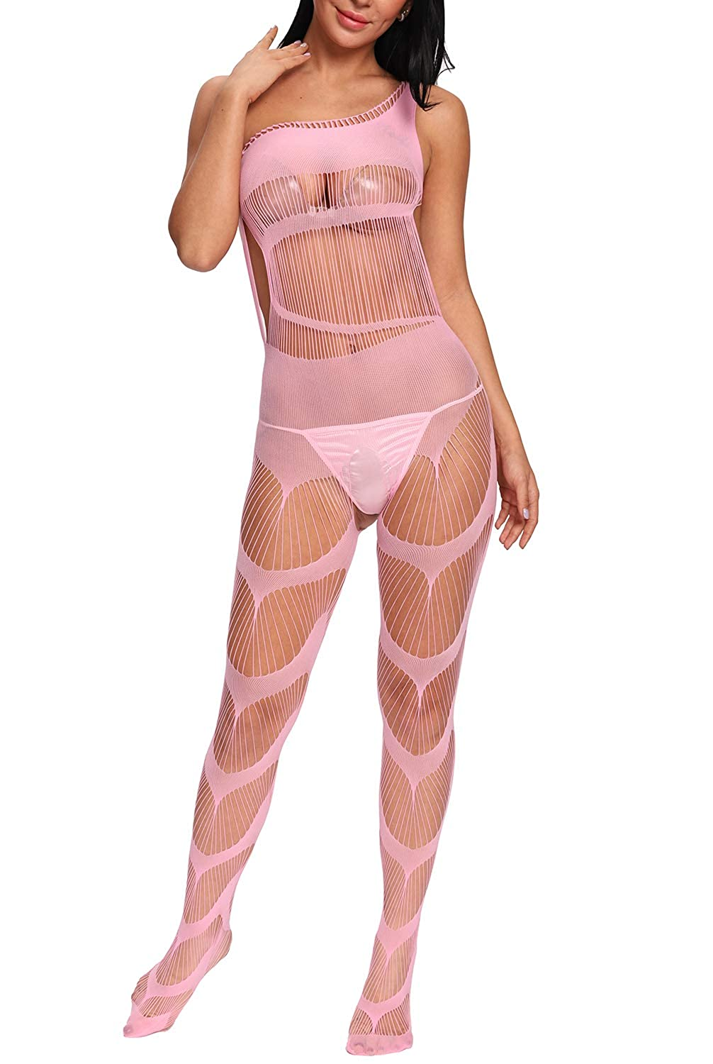 a596cad3b1 Amazon.com  Vextronic Women s Crotchless Fishnet Bodystocking Plus Size Mesh  Bodysuit Lingerie(G-String) (Pink)  Clothing