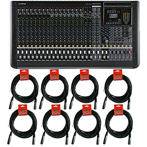 Yamaha MGP24 X 24-channel, 4-bus Analog Mixer with 16 Mic/24 Line Inputs, 6 AUX Sends, and Onboard EffectsPremium Mixing Console Bundle with8 XLR Microphone Cables (Mixing Consoles Yamaha)