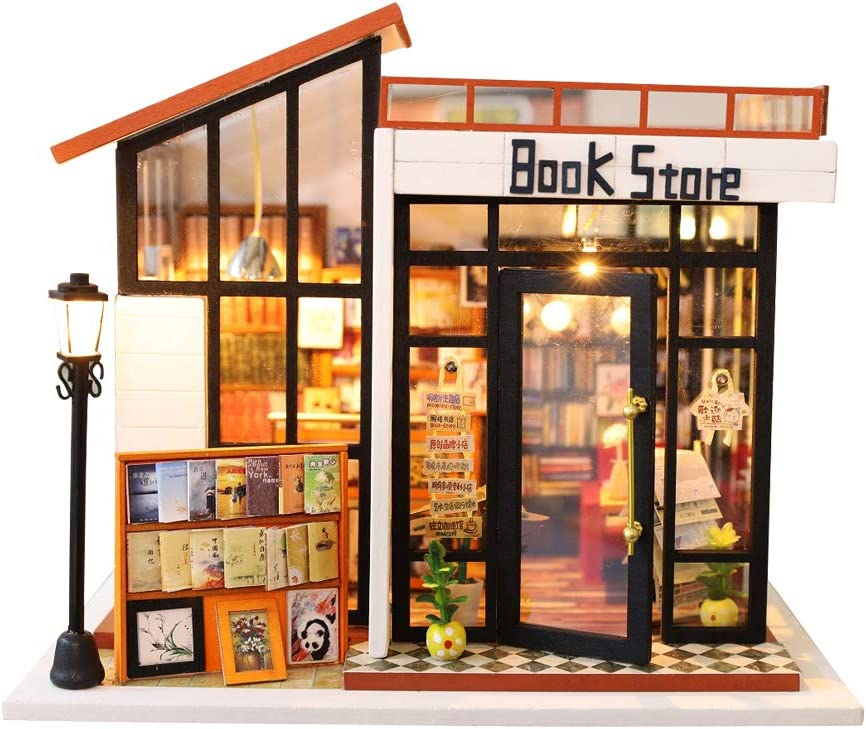 DIY Miniature Dollhouse Wooden Furniture Kit Book Shop DIY Mini House 1:24 Scale Room Assembly Doll House Building Kit Festival Birthday Gifts for Adults Girls with LED Light Dust Cover Music Movement