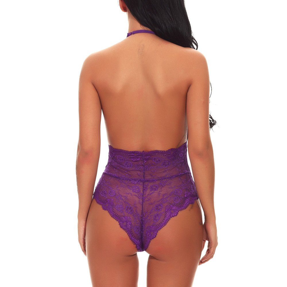 Libermall Sexy Lingerie for Women for Sex Sheer Chemise Lace V Neck Backless Babydoll Underwear Bodysuit Teddy Sleepwear Purple by Libermall Lingerie (Image #3)