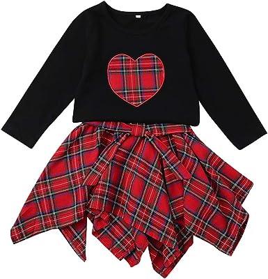 AIKSSOO Baby Girl Tops de Manga Larga Conjuntos de Falda a Cuadros Camisa roja de corazón Vestido con Volantes: Amazon.es: Ropa y accesorios
