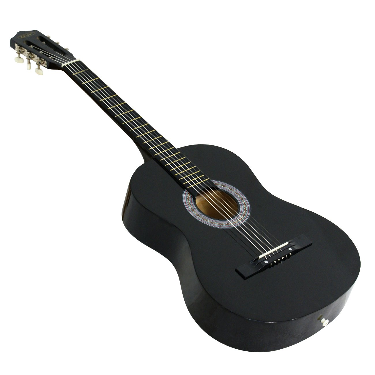 ZENY Beginners 38'' Acoustic Guitar Package Kit for Right-handed Starters Kids Music Lovers w/Case, Strap, Digital E-Tuner, and Pick, Black by ZENY (Image #6)