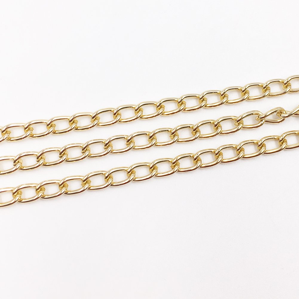 WUBOECE Dcatcher Aluminum Curb Chain Link in Bulk for Necklace Jewelry Accessories DIY Making 11 Yards 4.5mm Width KC Gold