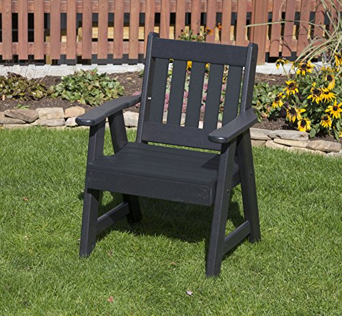 - Ecommersify Inc Black-Poly Lumber Mission Poly Resin 2 FEET Patio Garden Chair Heavy Duty Everlasting PolyTuf HDPE - Made in USA - Amish Crafted