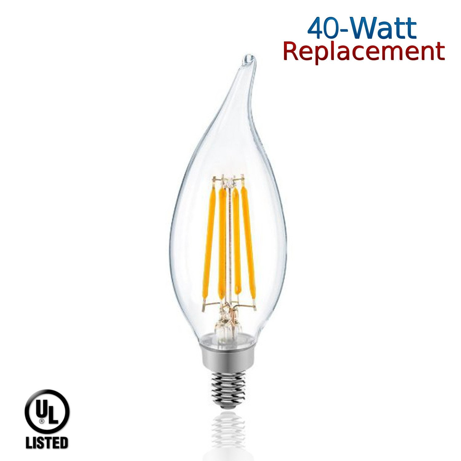 luxrite lr21200 100 pack 4 watt led filament candelabra light bulb 40 watt warm ebay. Black Bedroom Furniture Sets. Home Design Ideas