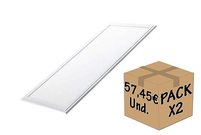 FactorLED Pack 2x Panel LED 120x60 cm 72W, 2 unidades Lampara LED para Falso Techo, Placa LED para Techo Técnico, Bajo Consumo, 6120 Lumenes, Marco ...