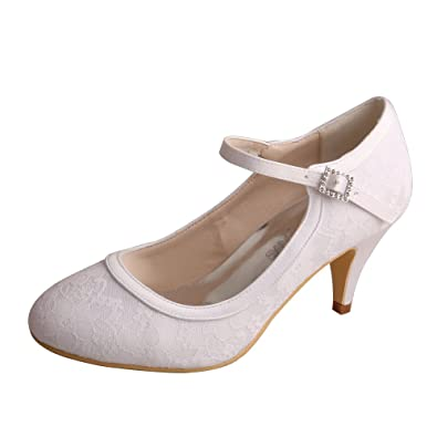 16a9c63ba24 Wedopus MW7012 Women Closed Toe Kitten Heels Mary Jane Lace Buckle Wedding  Bridal Shoes  Amazon.co.uk  Shoes   Bags