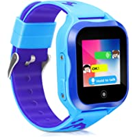 Kids Smart Phone Watch,GPS Kids Tracker with Touch Screen Camera SIM Slot,Waterproof Smartwatch Phone Holiday Birthday Gifts for 3-15 Years Old Girls Boys (Blue)