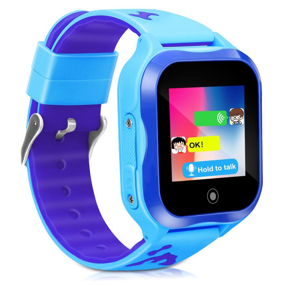 LJRYCQSSZSF Kids Smart Watch Phone GPS Tracker Ip67 Waterproof Kids Smartwatches Age 3-15 Boys Girls Touch Screen SIM Slot Educational Toys Phone 1.44 Inch Birthday Gift (Blue)