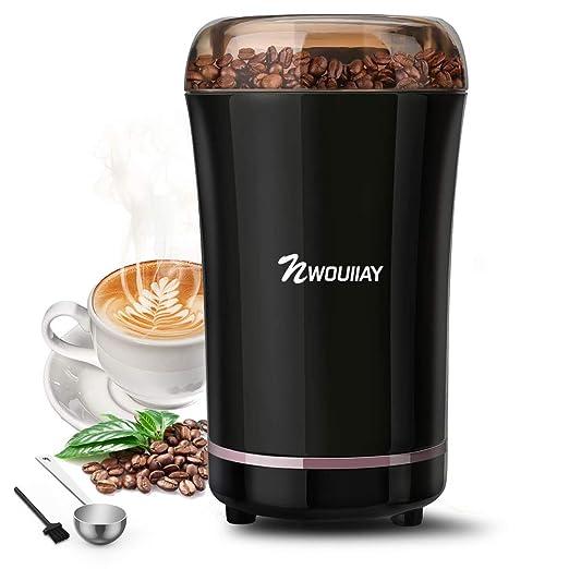 NWOUIIAY Molinillo de Café Eléctrico 300W Capacidad 100gr Molinillos de Especias Semillas Frutos Secos con Cuchillas de Acero Inoxidable y Cuchara ...