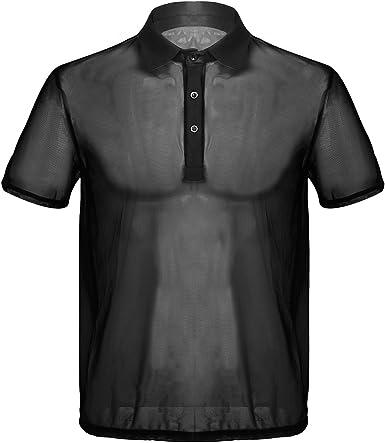 iiniim Camiseta de Malla Hombre Transparente con Cuello Polo Mens ...