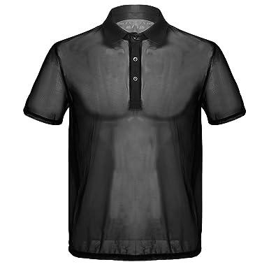 Camiseta negra transparente con cuello de polo.