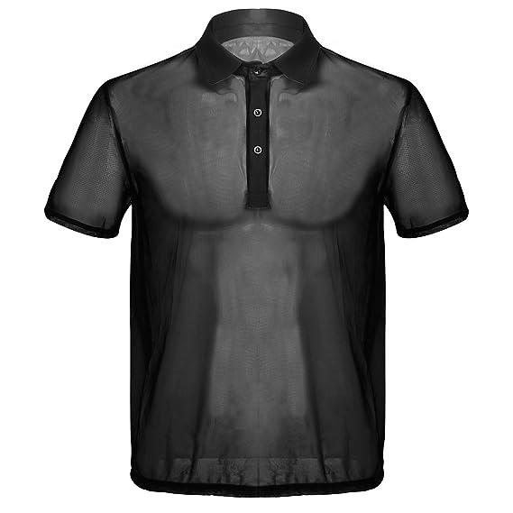 De Verano Camiseta Men's T Hombre Malla Cuello Transparente Negro Camisa Respirable Club Iiniim Traslúcido Sexy Con Shirt Corta Traje Manga Polo ikPZuOX