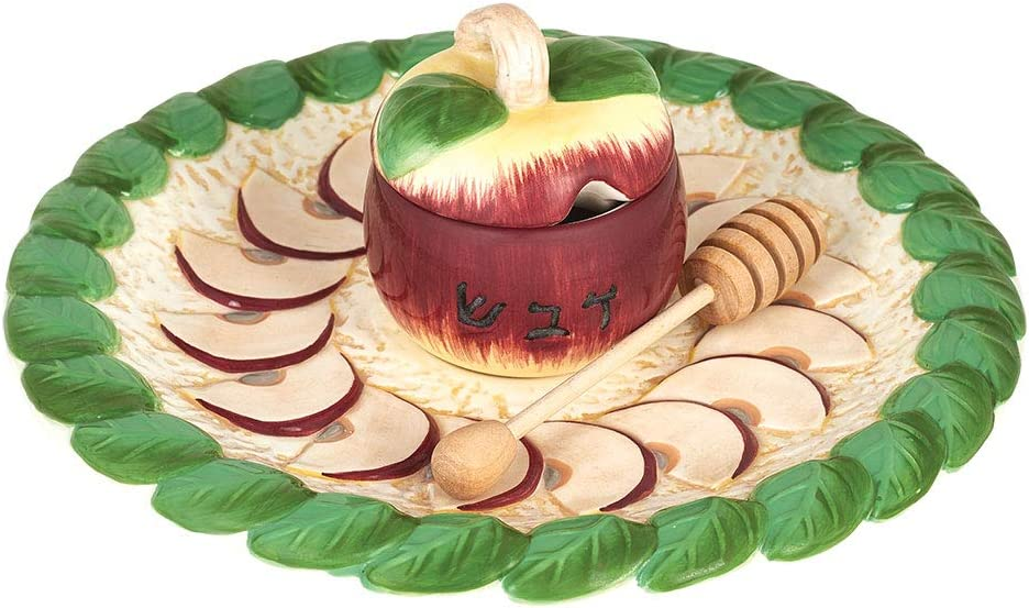 Aviv Judaica Apples Honey Plate with Covered Bowl and Dipper
