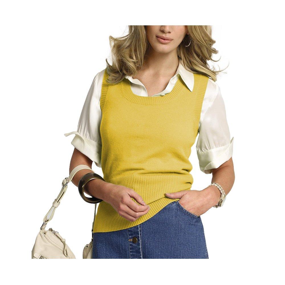 Parisbonbon Women's 100% Cashmere Scoop Neck Vest Color Yellow Size 4X
