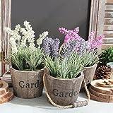 Life Up® Künstliche Blumen im Topf Lavendel Kunstblume Deko mit Blumentopf Holz hängend Kunstpflanzen Garten Retro Stil 25cm * 12.5cm Pink