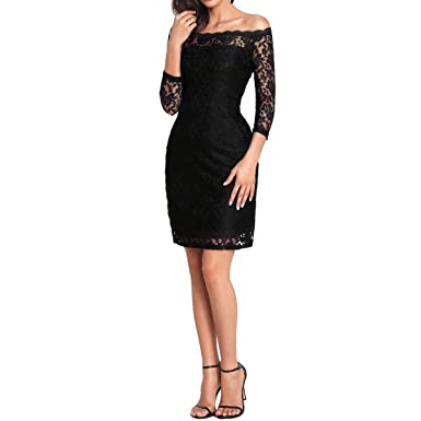 8f732f73e89 Orangetime Sexy Lace Dress For Women Black Summer Dress Vintage 1920 s  Cocktail Dress Off Shoulder Party