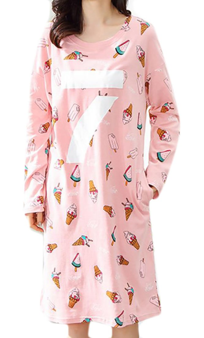 Cruiize Women's Cotton Print Loose Homewear Sleep Dress Nightgown