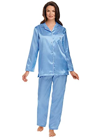 Brushed Back Satin Pajamas at Amazon Women's Clothing store: