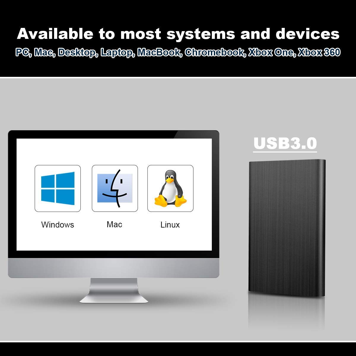 port/átil ASUME 1TB//2TB Disco Duro Externo port/átil Ultra Delgado 2.5 HDD Externo USB 3.0 para PC Chromebook Azul 2 TB Mac