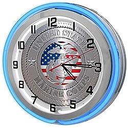 United States Marine Corp Blue 18 Double Neon Garage Clock from Redeye Laserworks