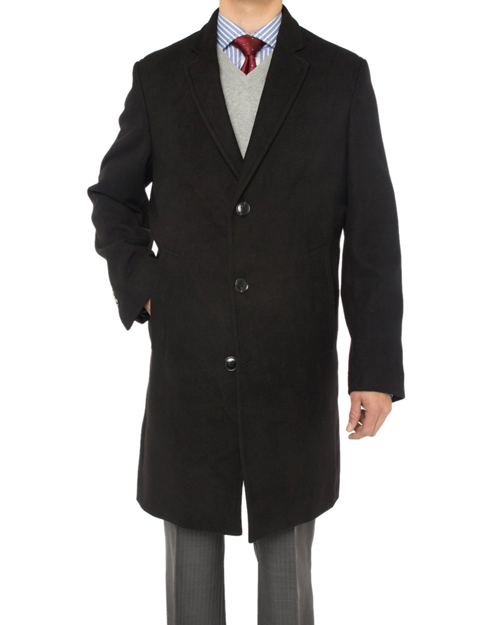 Luciano Natazzi Men's Trend Fit Overcoat Wool Blend Stretch Topcoat (38 US - 48 EU, Black) by Luciano Natazzi