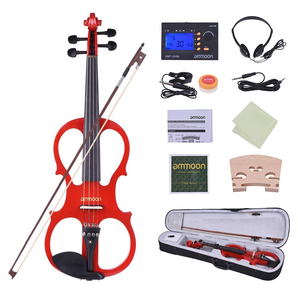 ammoon Full Size 4/4 Solid Wood Electric Silent Violin Fiddle Style-1 Ebony Fingerboard Pegs Chin Rest Tailpiece with Bow Hard Case Tuner Headphones Rosin Extra Strings & Bridge (Red) BHBUKPPAZINH1901
