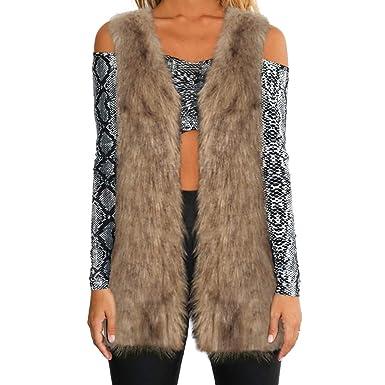 Luckycat Mujeres cálida Chaqueta de Abrigo Engrosamiento Piel sintética Fox visón Parka Outwear Cardigan Chaleco (