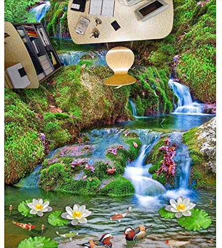 PVC 3D Wallpaper Murals Flooring Waterproof Self Adhesion Moss Landscape Painting Lotus Green Plant Stereo 3D Floor Painting 350X245cm