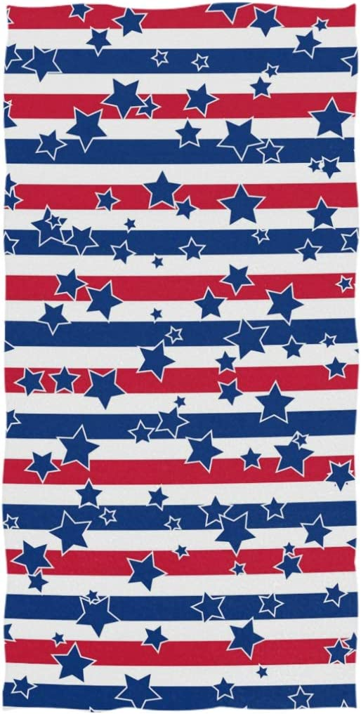 "Naanle Trendy American Patriotic Stars and Stripes Print Soft Bath Towel Highly Absorbent Large Hand Towels Multipurpose for Bathroom, Hotel, Gym and Spa (16"" x 30"",Blue Red)"