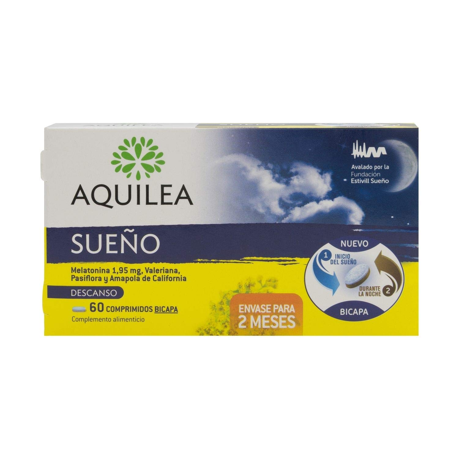 Amazon.com: Aquilea Sleep 60 tabs - Gluten-Free All-Natural Tabs - Rest All Night and Relax - Combat Insomnia - Melatonin, Valerian, California Poppy ...