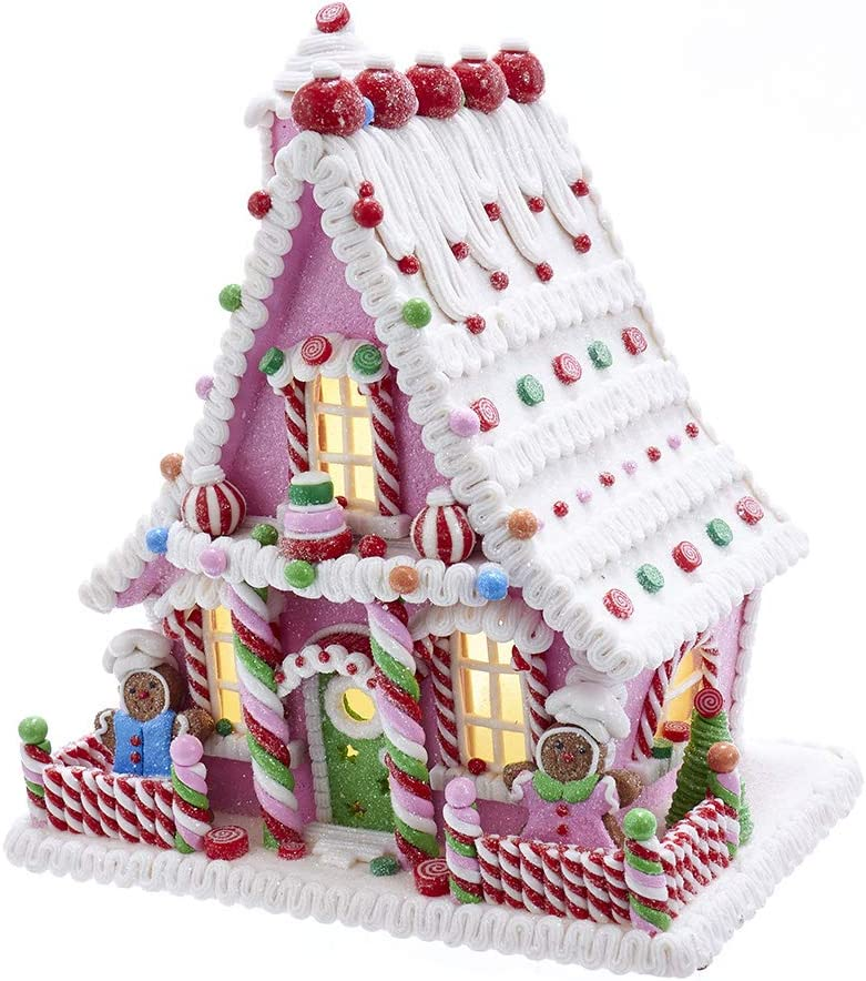 Kurt S. Adler Kurt Adler 10-Inch Pink Battery-Operated Candy LED Gingerbread House Table Piece, Multi