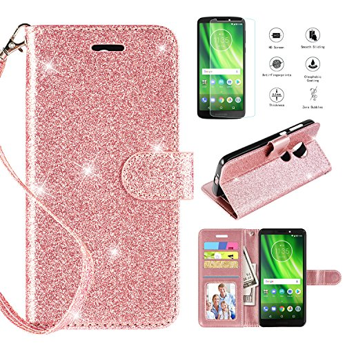 Motorola Moto E5 Plus Case Moto E5 Supra Case with HD Screen Protector,[Kickstand] [Card Slots] [Wrist Strap] 2 in 1 Glitter Magnetic Flip PU Leather Wallet Cover Compatible Moto E5 Plus,Rose Gold