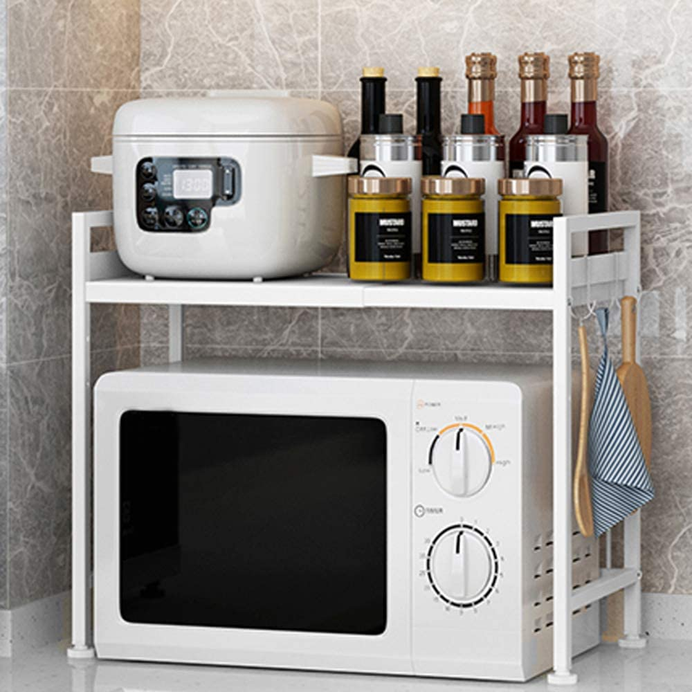 RICA-J Microwave Oven Rack, Metal Toaster Stand Shelf Expandable Kitchen Counter Storage Organizer Spice Holder Space Saving with 3 Hooks (H-White)