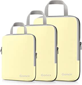 Gonex Compression Packing Cubes,3pcs L+M+S Expandable StorageTravel Bags Luggage Organizers(Beige)