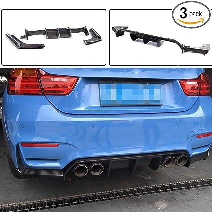Jcsportline Carbon Fiber Rear Diffuser Lip Fits Bmw 3 Series F80 M3 Sedan 4 Series F82 F83 M4 Coupe Convertible 2014 2019 3pcs Set