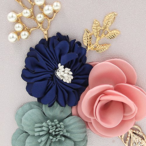 Women Evening Handbag Purse Flower Bag Party Black Beaded Box Bag Clutches Wedding rq7rZfwX
