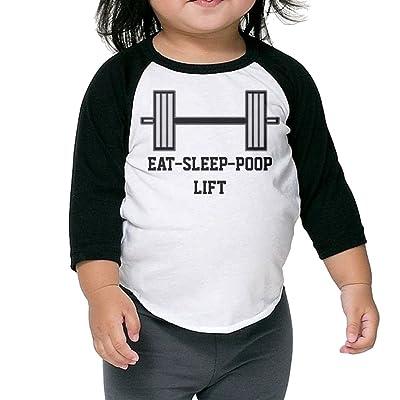 SH-rong Eat Sleep Poop Lift Toddler Baseball Tshirt