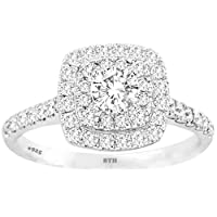 BestToHave 925 Sterling Silver Dazzling Round-Cut Simulated Diamond Stunning Wedding Engagement Bridal Ring