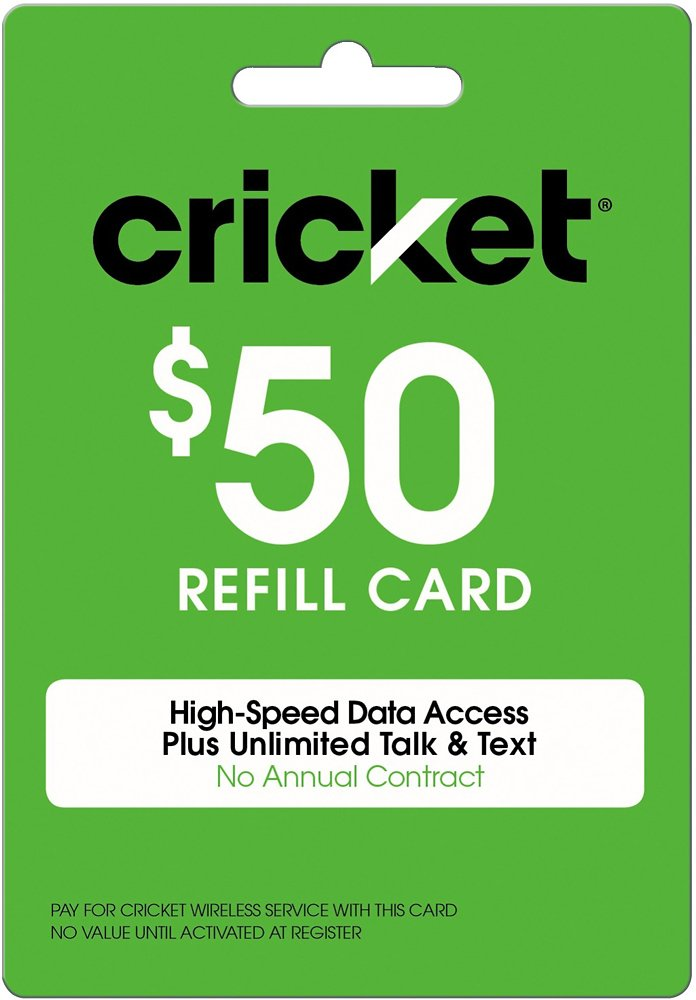 Cricket Refill Card $50 Cricket Wireless Refill Card $50