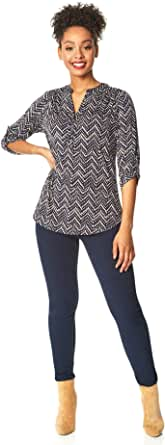 Roman Originals - Camiseta de Manga Larga para Mujer, diseño de Zigzag, Estilo Informal, para el día de la Noche, Trabajo, Oficina, con Cuello en V